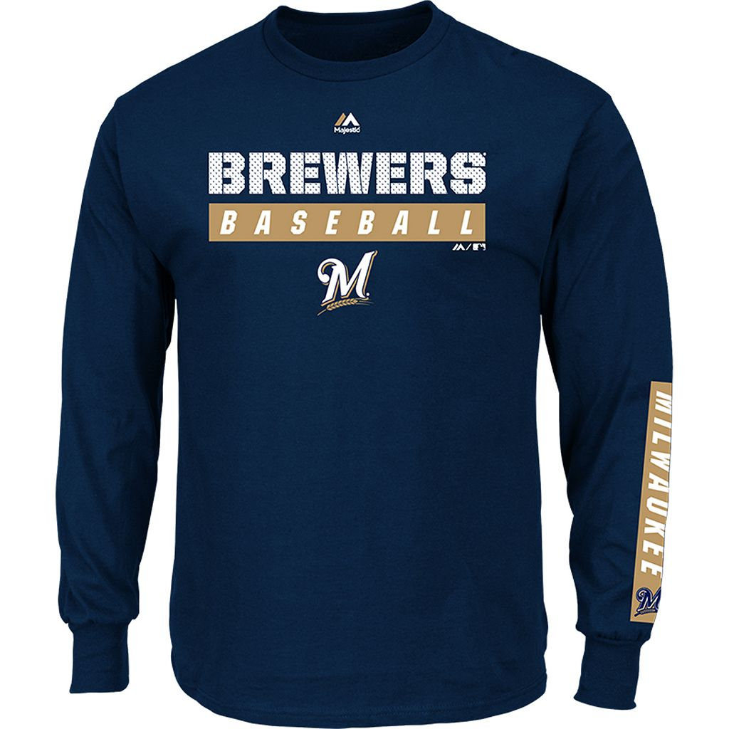 Men's Majestic Milwaukee Brewers Proven Pasttime Long-Sleeve Tee