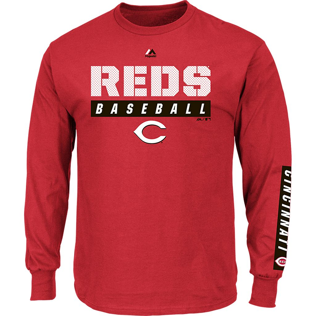 Men's Majestic Cincinnati Reds Proven Pasttime Long-Sleeve Tee