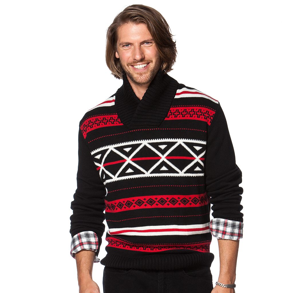 Big & Tall Chaps Classic-Fit Patterned Shawl-Collar Sweater