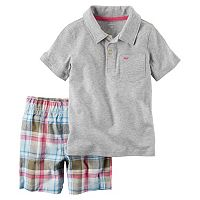 Toddler Boy Carter's Short Sleeve Gray Polo Shirt & Plaid Shorts Set