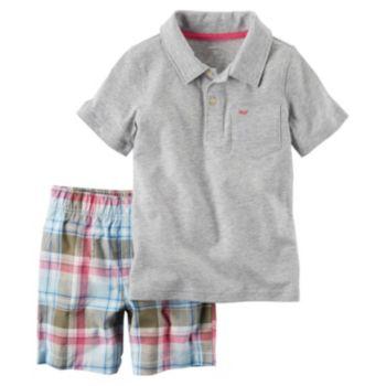 Toddler Boy Carter's Short Sleeve Gray Polo Shirt & Plaid Shorts Set