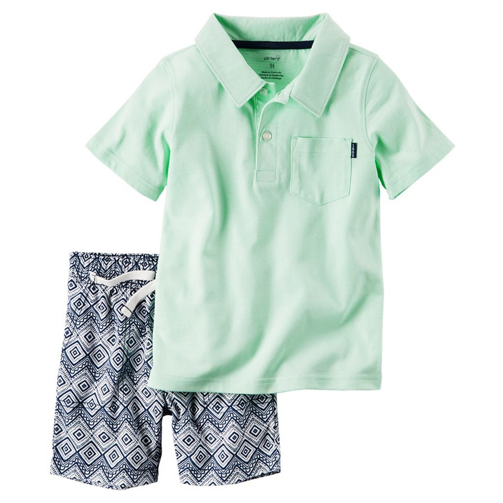 Toddler Boy Carter's Mint Polo Shirt & Geo-Print Canvas Shorts Set