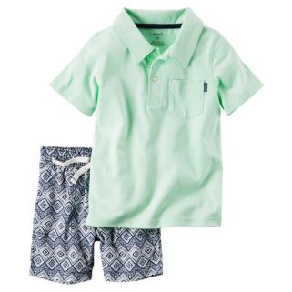 Toddler Boy Carter's Mint Polo Shirt & Geo-Print Canvas Shorts Set