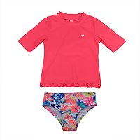 Baby Girl Carter's Solid Rashguard & Floral Bottoms Swimsuit Set