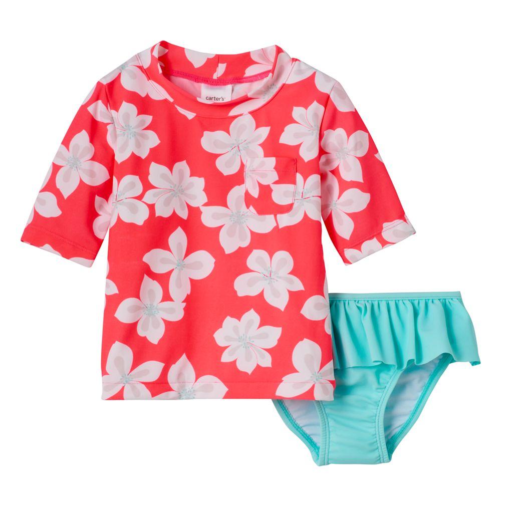 Baby Girl Carter's Tropical Flower Print Rashguard & Ruffle Peplum Bottoms Swimsuit Set
