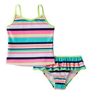 Baby Girl Carter's Striped Tankini Top & Ruffled Bottoms Swimsuit Set