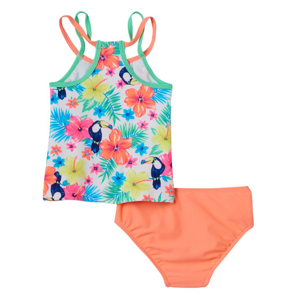 Baby Girl Carter's Tropical Flower Print Tankini Top & Bottoms Swimsuit Set