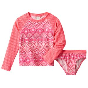 Baby Girl OshKosh B'gosh® Geometric Rashguard & Bikini Bottoms Swimsuit Set