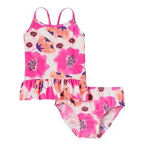 Baby Girl OshKosh B'gosh® Pink Floral Tankini Top & Bottoms Swimsuit Set