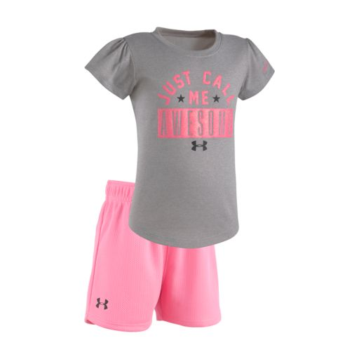 "Baby Girl Under Armour ""Just Call Me Awesome"" Tee & Shorts Set"