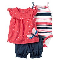 Baby Girl Carter's Striped Bodysuit, Polka-Dot Top & Bubble Shorts Set
