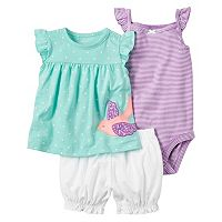 Baby Girl Carter's Striped Bodysuit, Polka-Dot Bird Top & Bubble Shorts Set