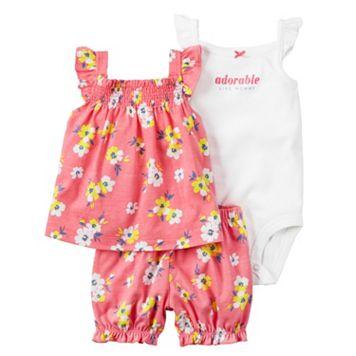 Baby Girl Carter's Graphic Bodysuit, Floral Tank Top & Floral Bubble Shorts Set