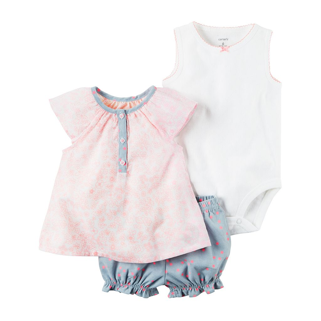 Baby Girl Carter's Solid Bodysuit, Floral Henley & Polka-Dot Shorts Set