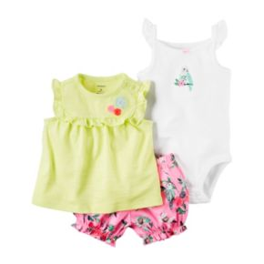 Baby Girl Carter's Embroidered Bird Bodysuit, Ruffled Top & Floral Bubble Shorts Set