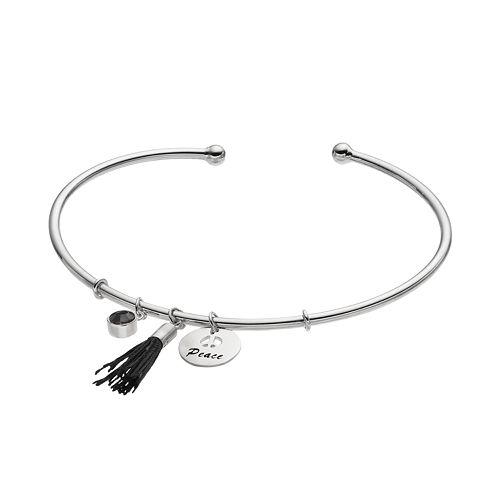 "Silver Plated ""Peace"" Tassel Charm Cuff Bracelet"