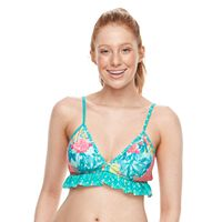 Juniors' Social Angel Ruffle Bikini Top