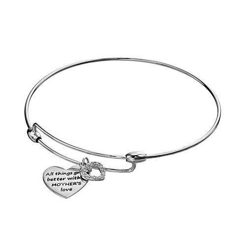 CHARMED BY DIAMONDS 1/10 Carat T.W. Diamond Mother's Love Heart Bangle Bracelet