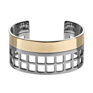REED Two Tone Wide Geometric Openwork Cuff Bracelet