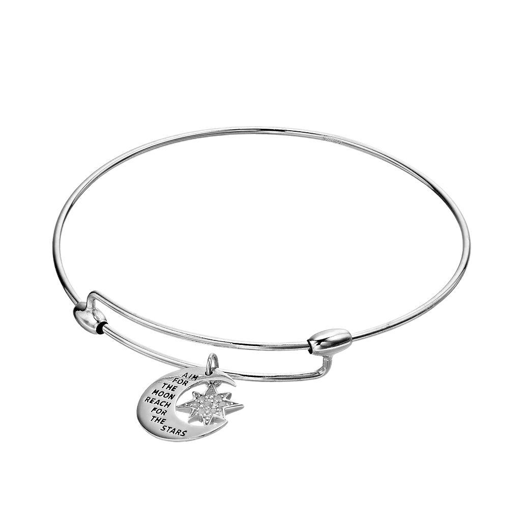 CHARMED BY DIAMONDS 1/10 Carat T.W. Diamond Inspirational Moon & Star Bangle Bracelet