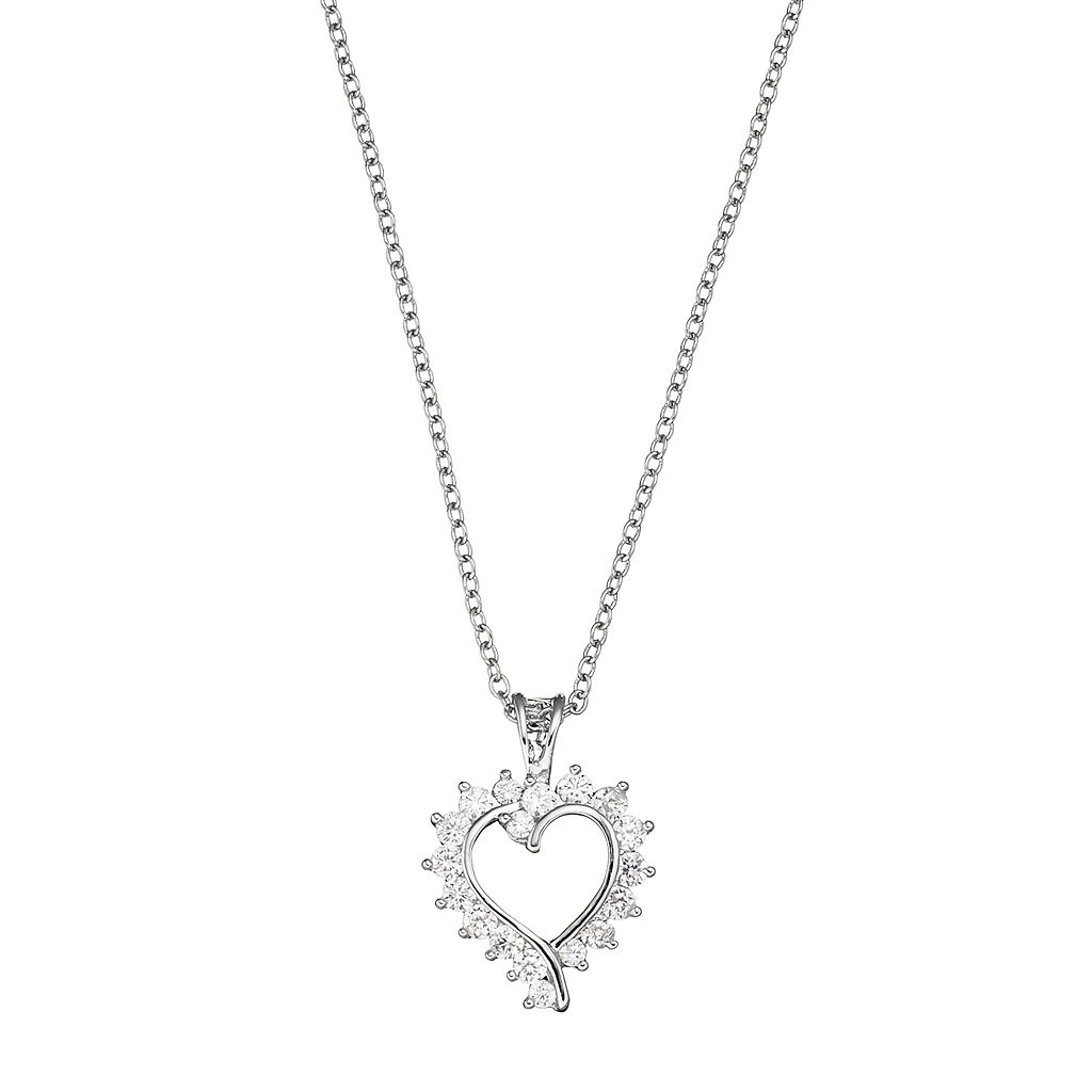 Silver Plated Cubic Zirconia Heart Pendant Necklace