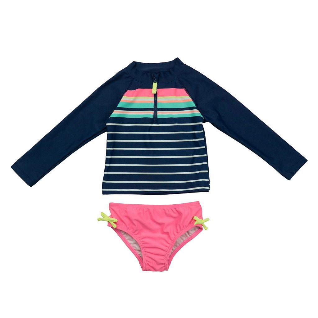 Toddler Girl Carter's Long Sleeve Stripe Rashguard & Bottoms Swimsuit Set