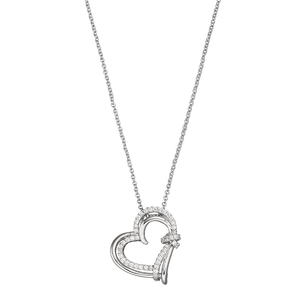 Silver Plated Cubic Zirconia Knot Heart Pendant Necklace
