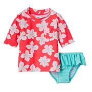 Toddler Girl Carter's Tropical Flower Print Rashguard & Ruffle Peplum Bottoms Swimsuit Set