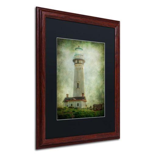 Trademark Fine Art Pigeon Point Light Station Dark Finish Framed Wall Art