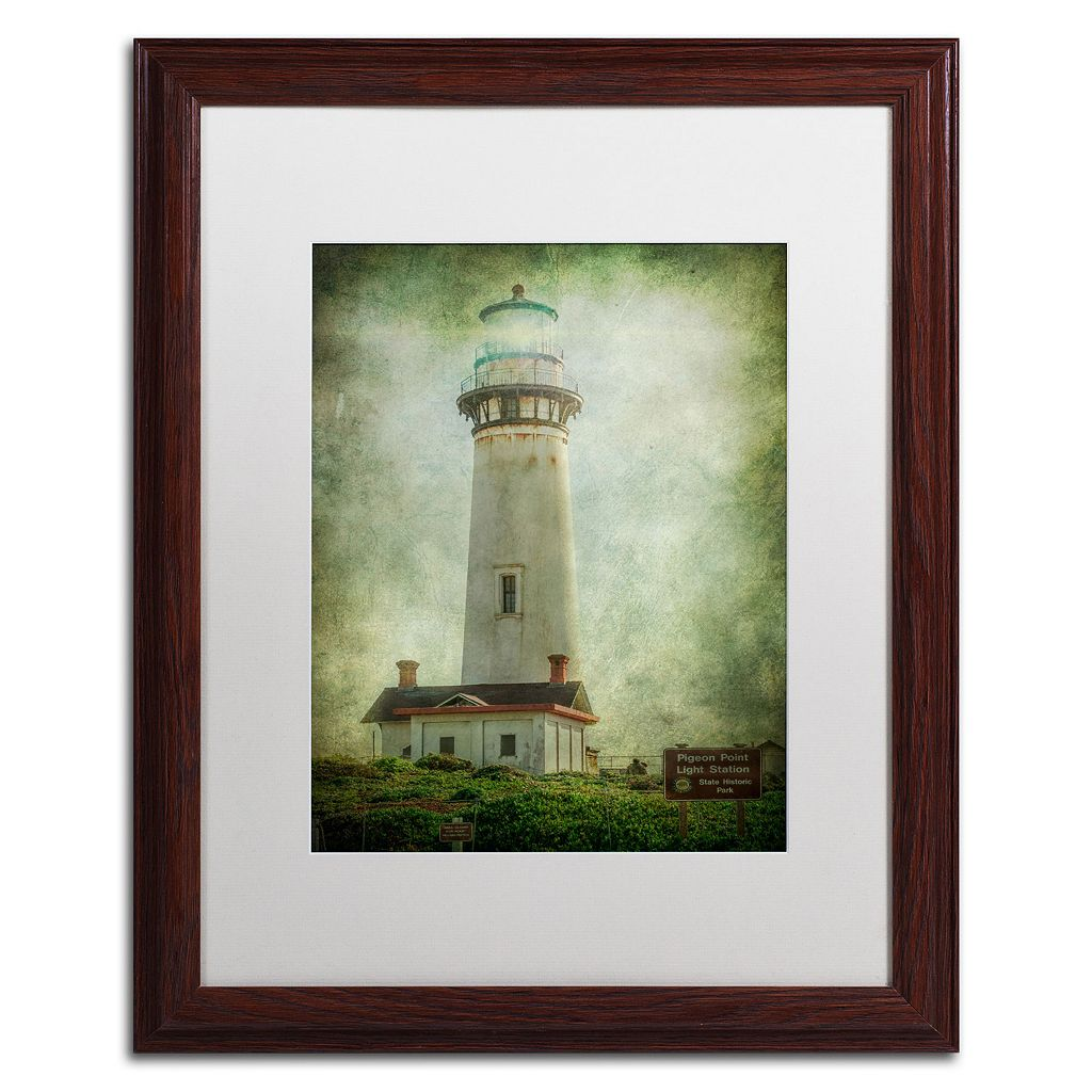 Trademark Fine Art Pigeon Point Light Station Dark Finish Framed Wall Art