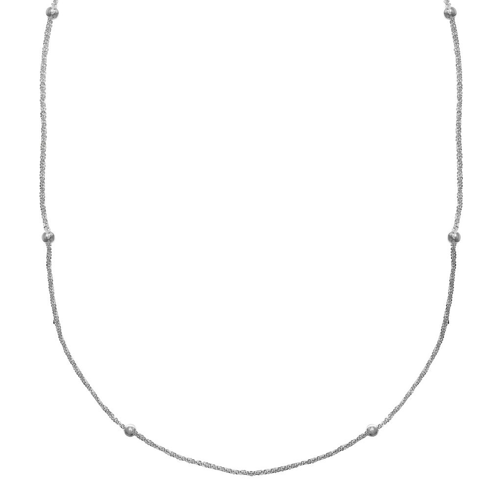 PRIMROSE Sterling Silver Beaded Sparkle Chain Necklace