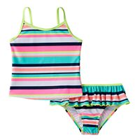 Toddler Girl Carter's Striped Tankini Top & Ruffled Bottoms Swimsuit Set