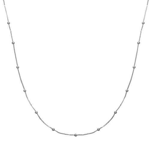 PRIMROSE Sterling Silver Beaded Box Chain Necklace