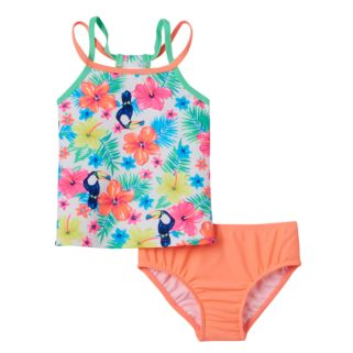 Toddler Girl Carter's Tropical Flower Print Tankini Top &  Bottoms Swimsuit Set