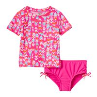 Toddler Girl Carter's Heart Print Short Sleeve Rashguard & Bottoms Swimsuit Set