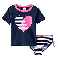 Toddler Girl OshKosh B'gosh® Striped Heart Rashguard & Swimsuit Bottoms Set