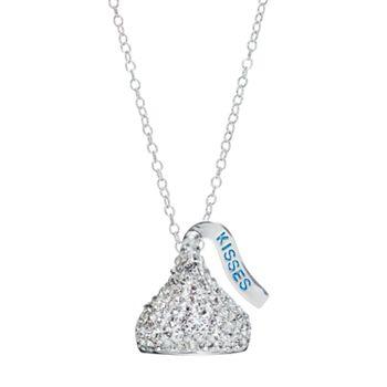 Sterling silver crystal hersheys kiss pendant necklace aloadofball Images