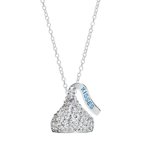 Sterling Silver Crystal Hershey's Kiss Pendant Necklace