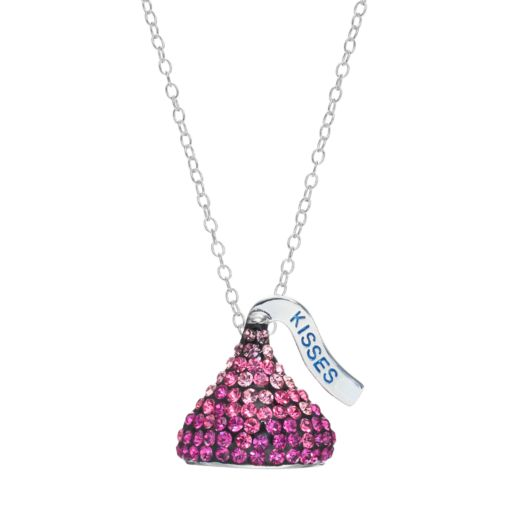 Sterling Silver Pink Crystal Hershey's Kiss Pendant Necklace