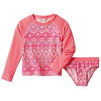 Toddler Girl OshKosh B'gosh® Geometric Rashguard & Bikini Bottoms Swimsuit Set