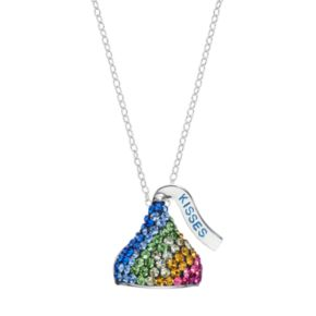 Sterling Silver Rainbow Crystal Hershey's Kiss Pendant Necklace