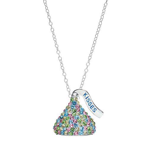 Silver pastel crystal hersheys kiss pendant necklace sterling silver pastel crystal hersheys kiss pendant necklace mozeypictures Choice Image