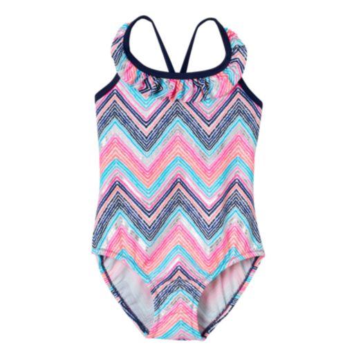 Toddler Girl OshKosh B'gosh Chevron Ruffle One-Piece Swimsuit