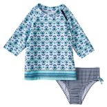 Girls 4-6x Carter's 3/4-Length Sleeve Printed Rashguard & Bottoms Swimsuit Set