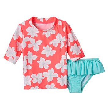 Girls 4-6x Carter's Floral Rashguard Swimsuit Set