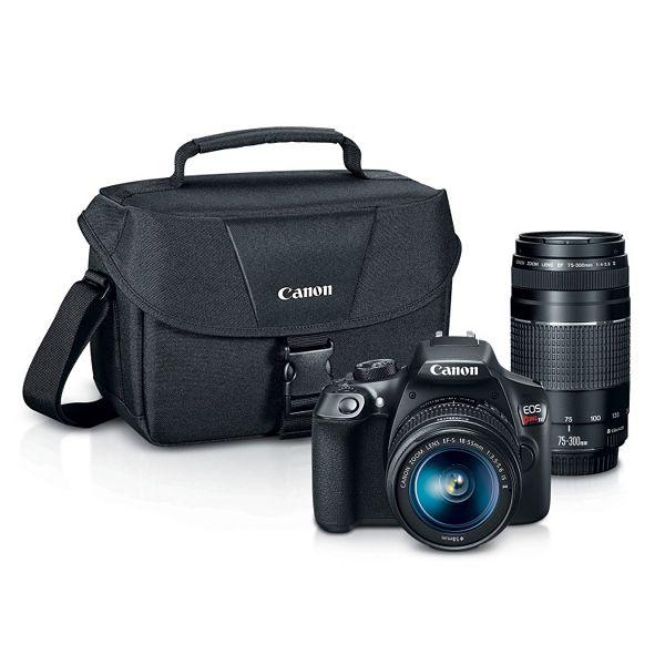 Canon EOS Rebel T6 DSLR Camera with EF-S 18-55mm + EF 75-300mm Lenses - 18-Megapixel Sensor