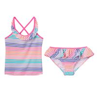 Girls 4-6x OshKosh B'gosh® Striped Ruffle Tankini Swimsuit Set