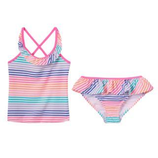 Girls 4-6x OshKosh B'gosh® Striped Ruffle Tankini Swimsuit Set