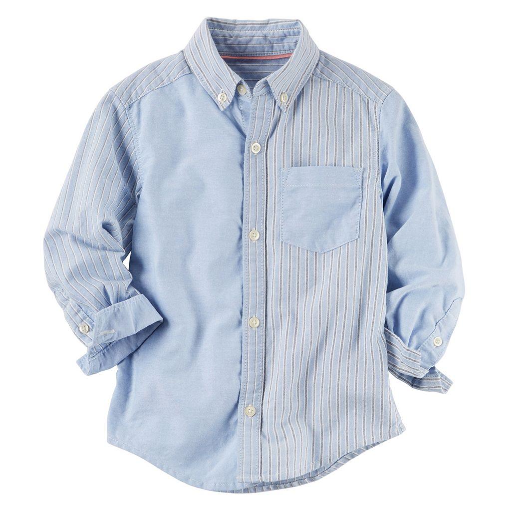 Toddler Boy Carter's Woven Oxford Striped Button-Down Shirt
