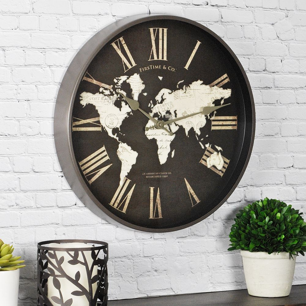 World map wall clock firstime world map wall clock amipublicfo Image collections